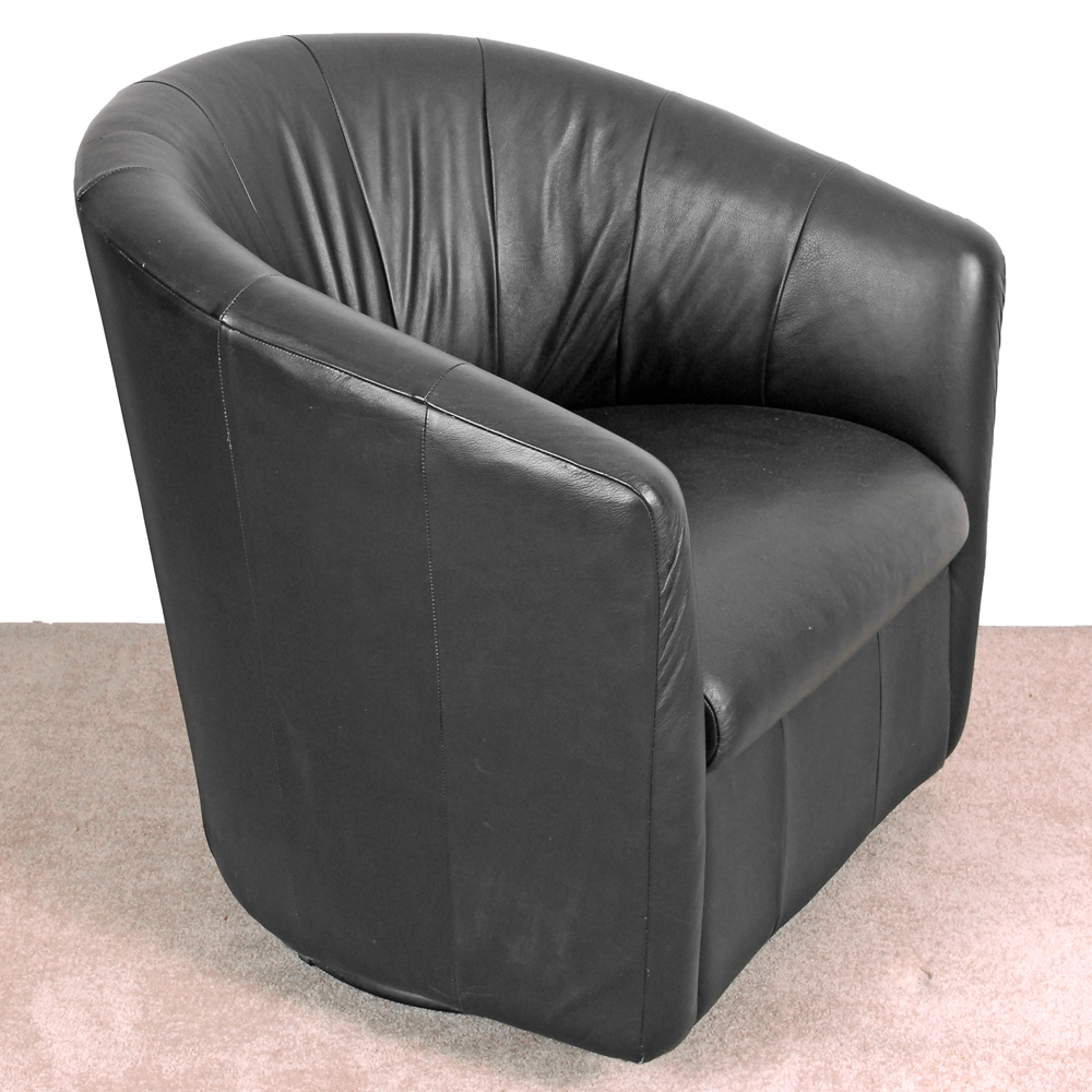 swivel tub chairs the liberator chair faux black leather ebth
