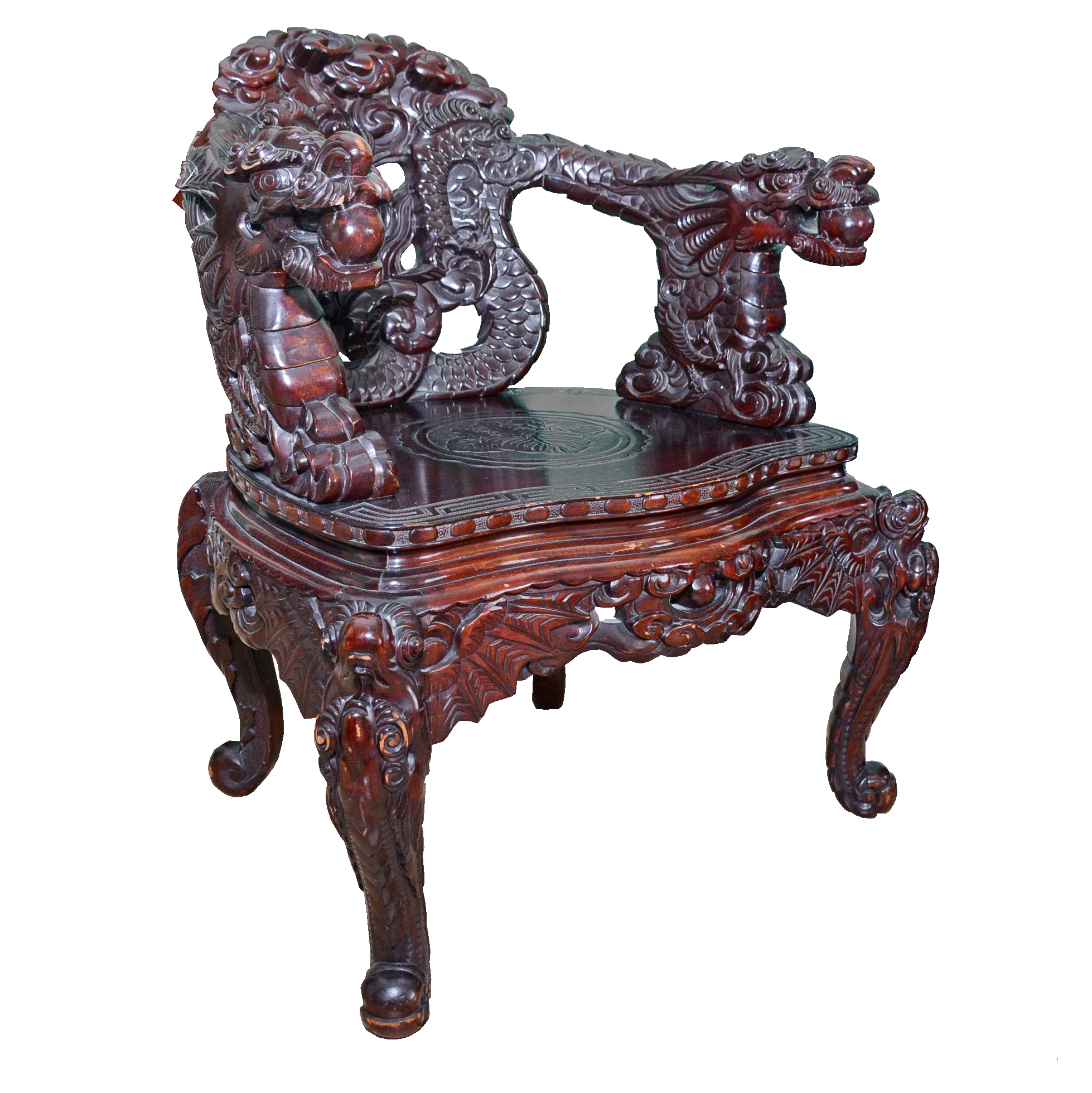 antique chinese dragon chair distressed leather desk vintage carved mahogany ebth