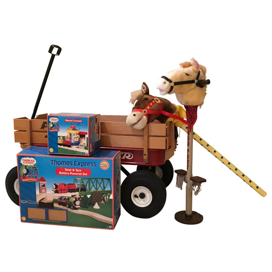 Radio Flyer Atw Wagon Wooden Train Set And Stick Horses Ebth