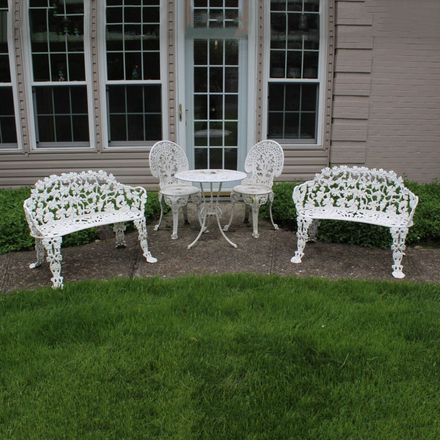 White Wrought Iron Patio Furniture Ebth