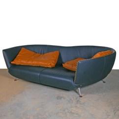 Dark Green Leather Sofa Sectional Costco Mid Century Modern Style Ebth