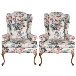 Floral Upholstered Chair Patio Lounge Chairs Walmart Wing Back Ebth