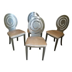 Silver Metal Dining Chairs Stool Chair In Chinese Swirl Back Framed Ebth