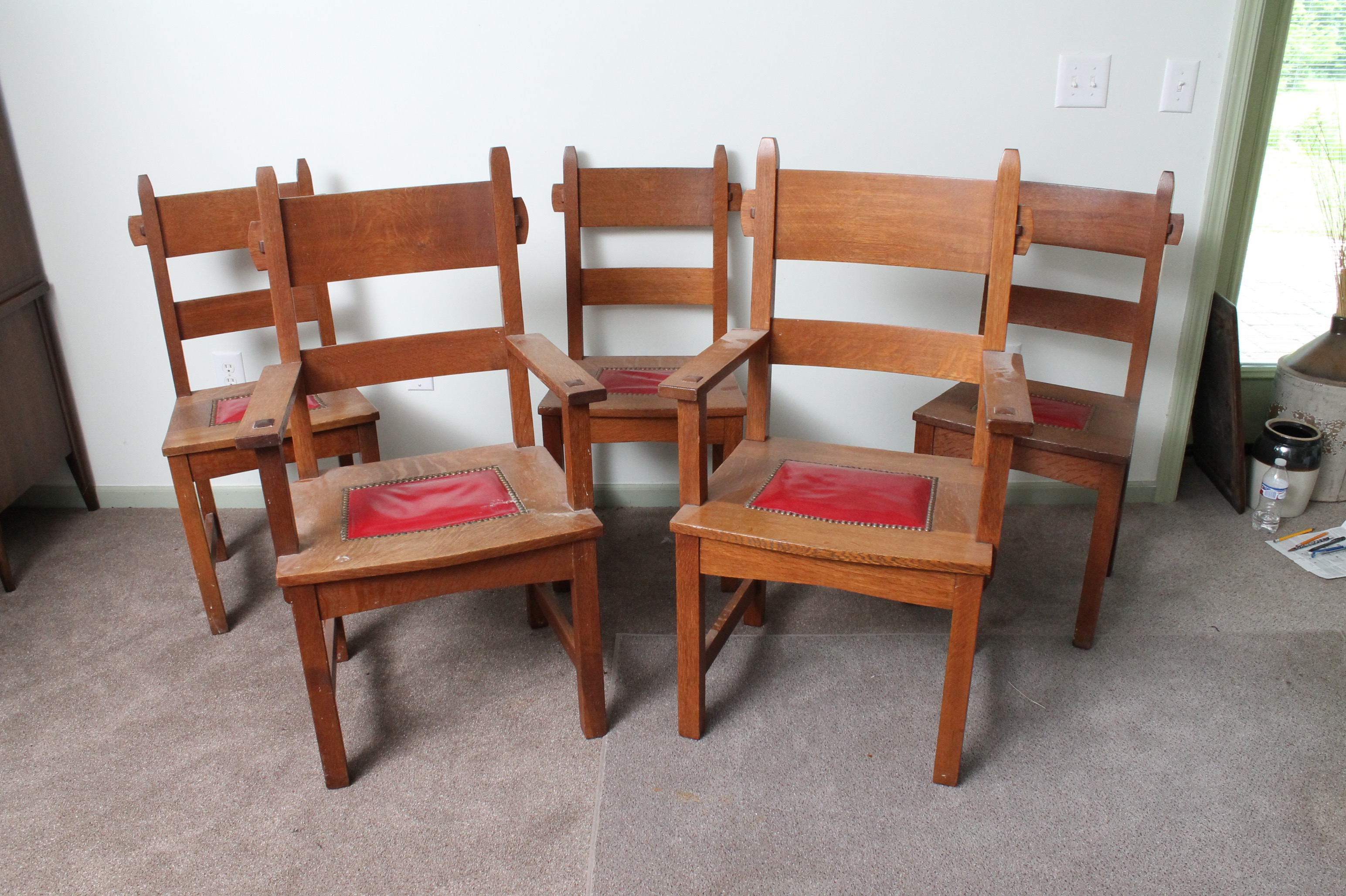 craftsman style chairs chair exercises for abs vintage oak dining ebth