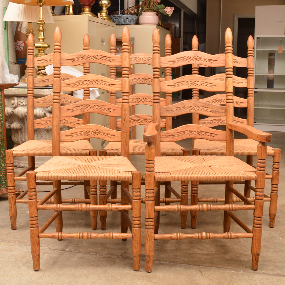 ladderback dining chairs portable massage for sale set of five oak with rush woven seats ebth
