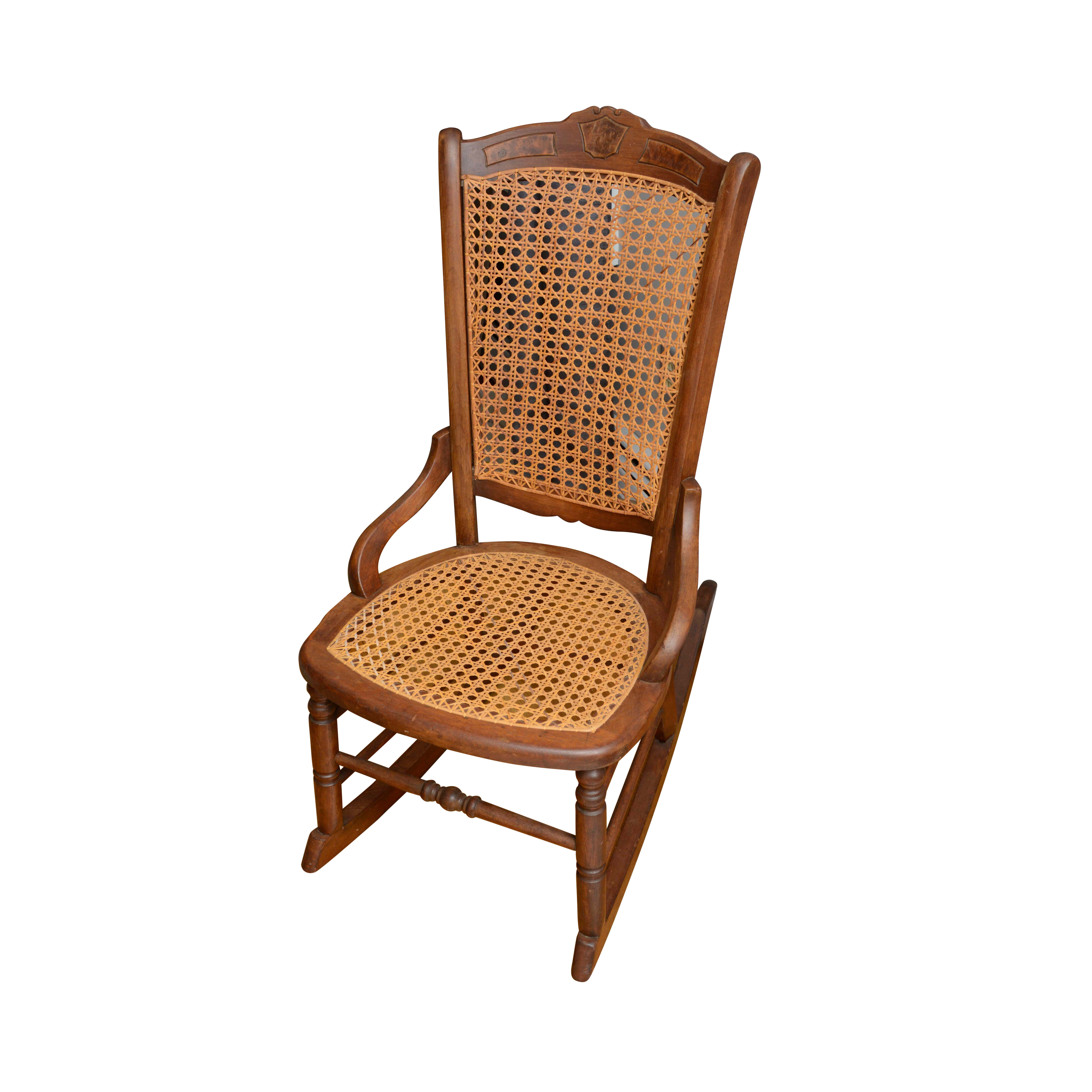 rocking chair cane seat covers with elastic vintage victorian eastlake style ebth