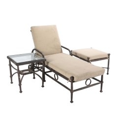 Outdoor Chaise Lounge Chair With Ottoman Tufted Parsons Chairs Set Of 2 Espresso Patio And Side Table By Caluco Ebth
