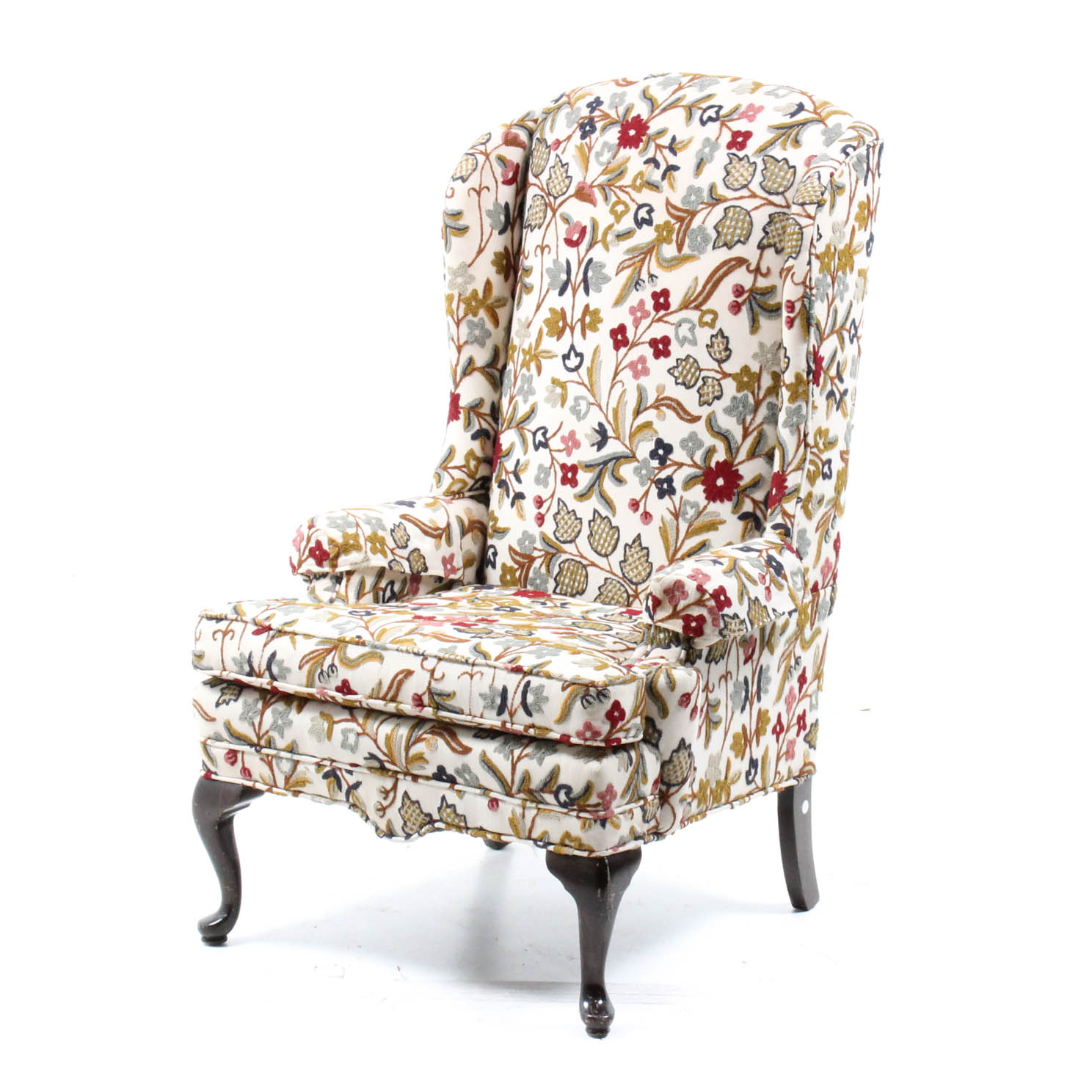 ethan allen wingback chairs adirondack table and chair set crewel upholstered ebth