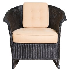 Black Wicker Rocking Chair Outdoor Eames Wire Seat Pad Ebth