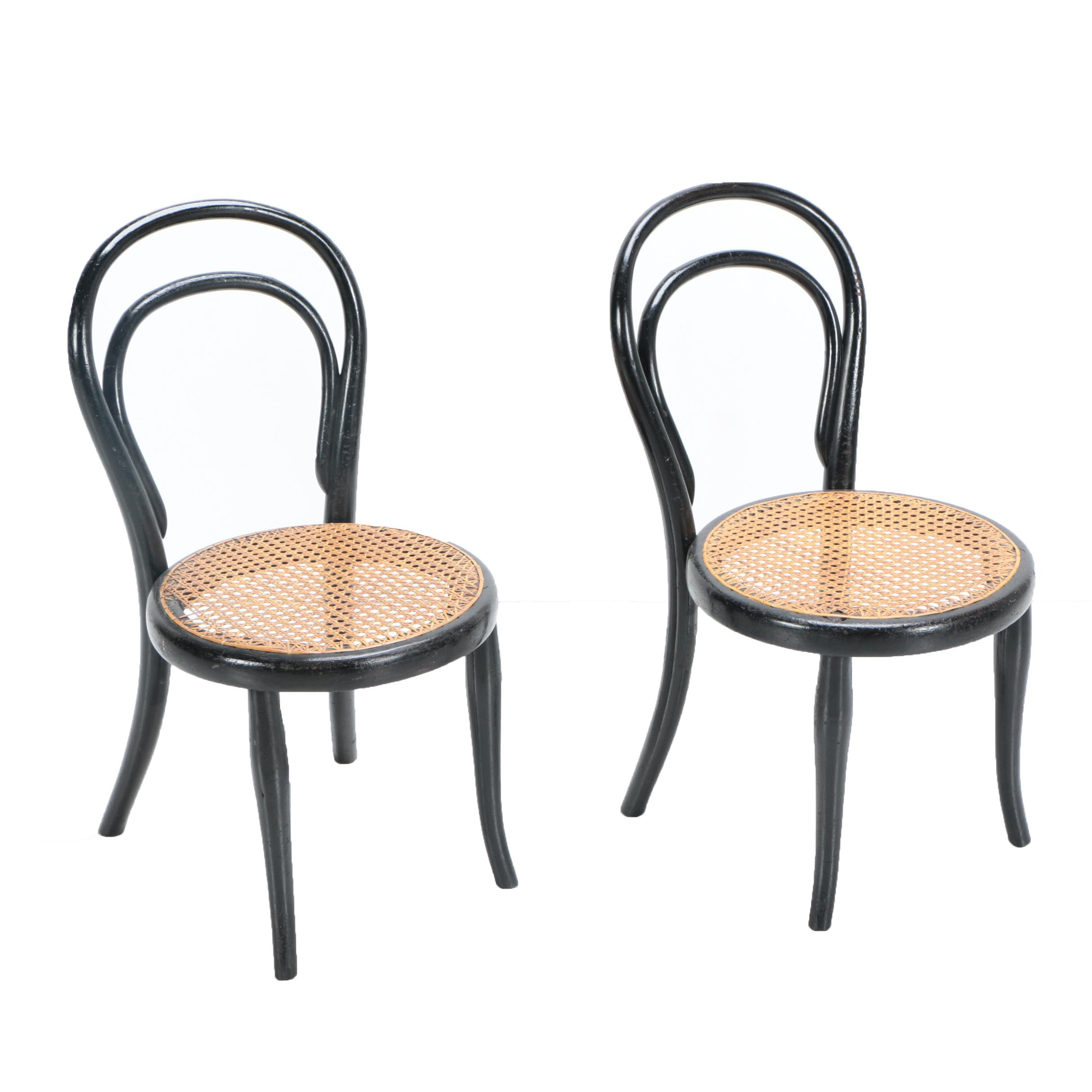 bentwood cane seat chairs library lounge chair pair of child s thonet ebth