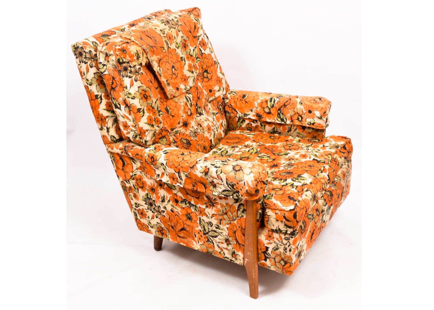 floral upholstered chair wheelchair left vintage mid century armchair by norwalk furniture ebth