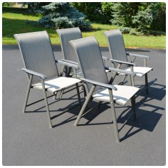 Sling Back Patio Chairs 6 Chair Set Four Folding Ebth