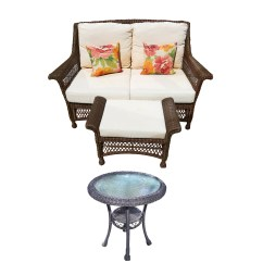 Resin Wicker Chair With Ottoman Buy Covers Canada Loveseat And Accent Table Ebth