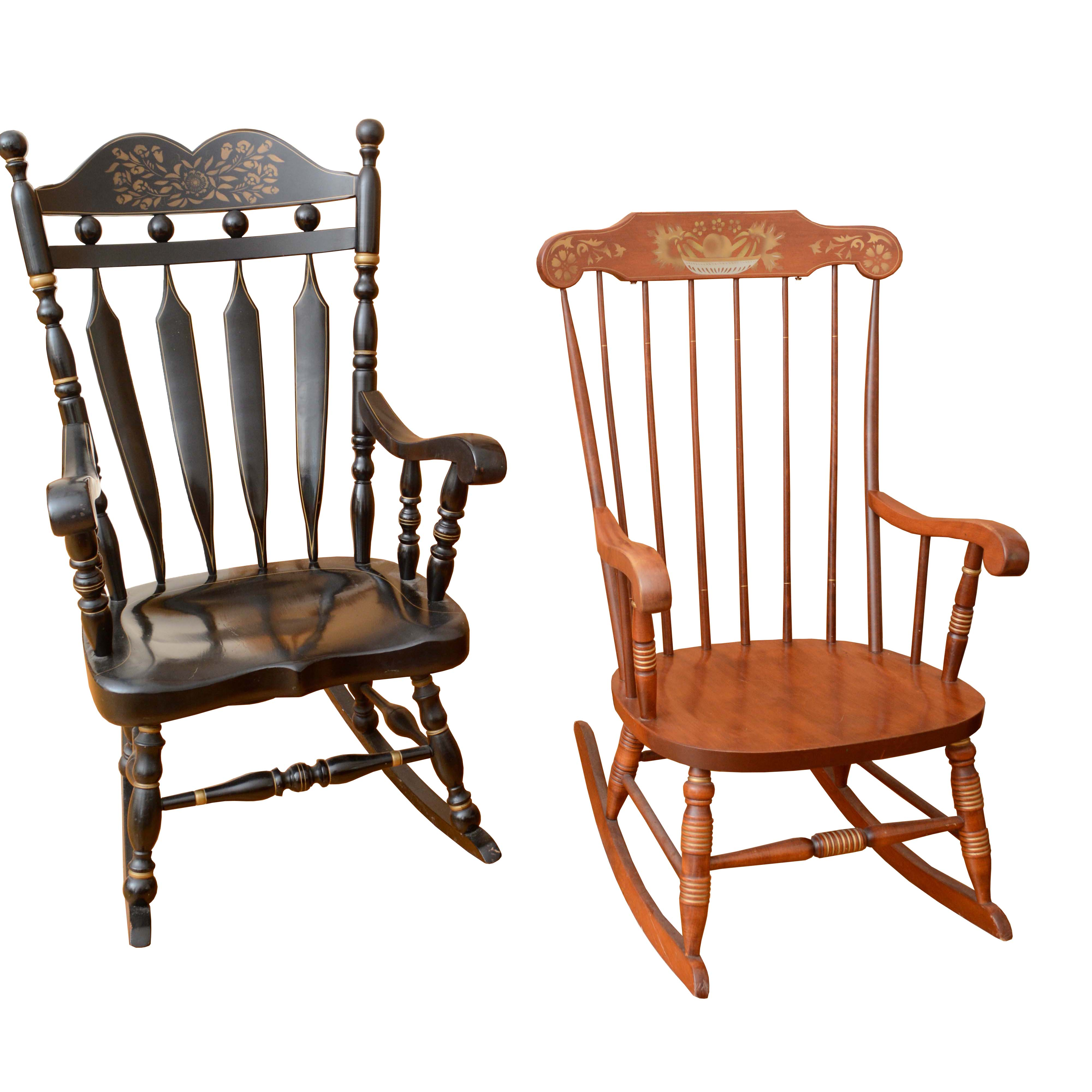 types of rocking chairs gray accent with arms vintage hitchcock style stenciled ebth