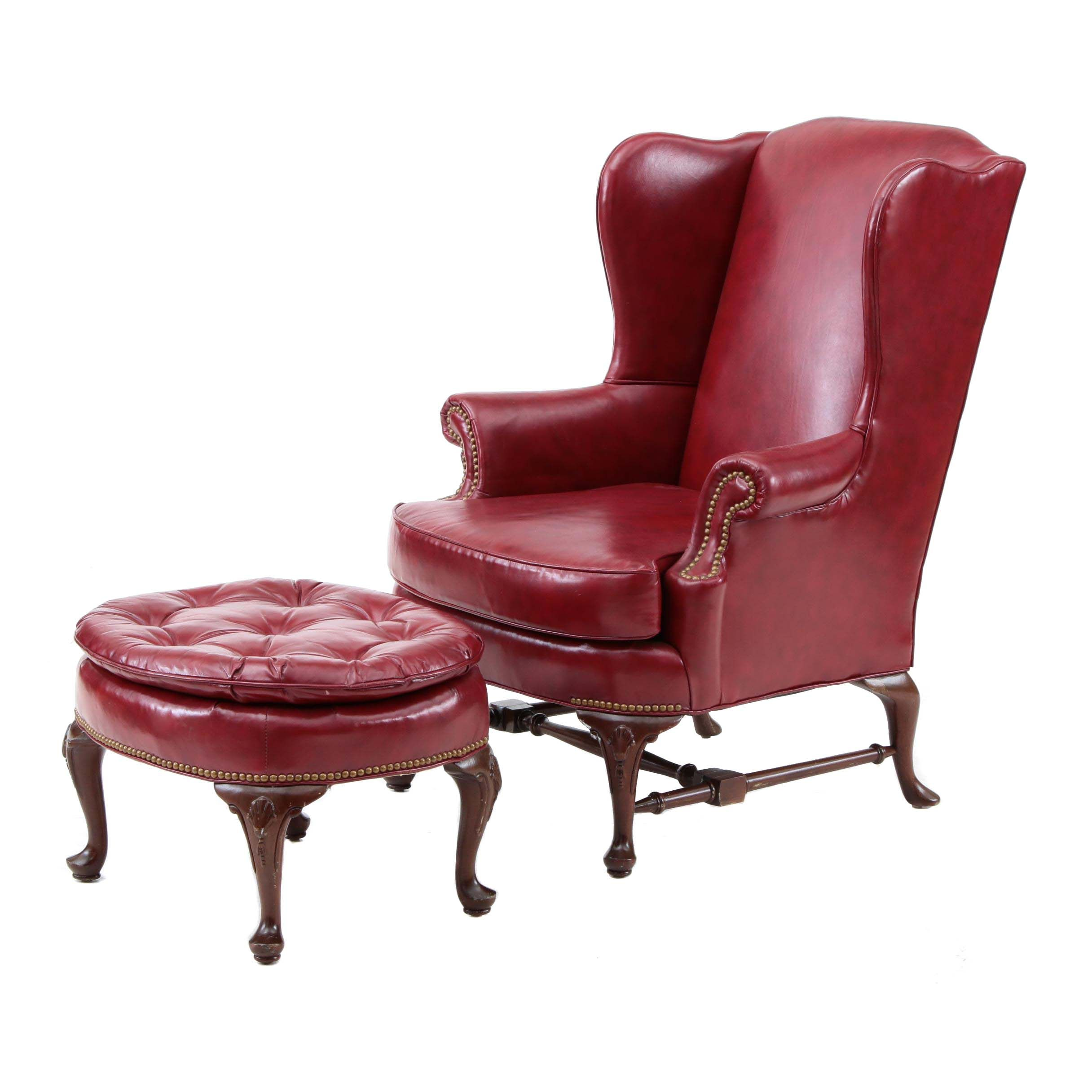 queen anne wingback chair leather wooden school chairs style wing back arm by north hickory furniture co ebth