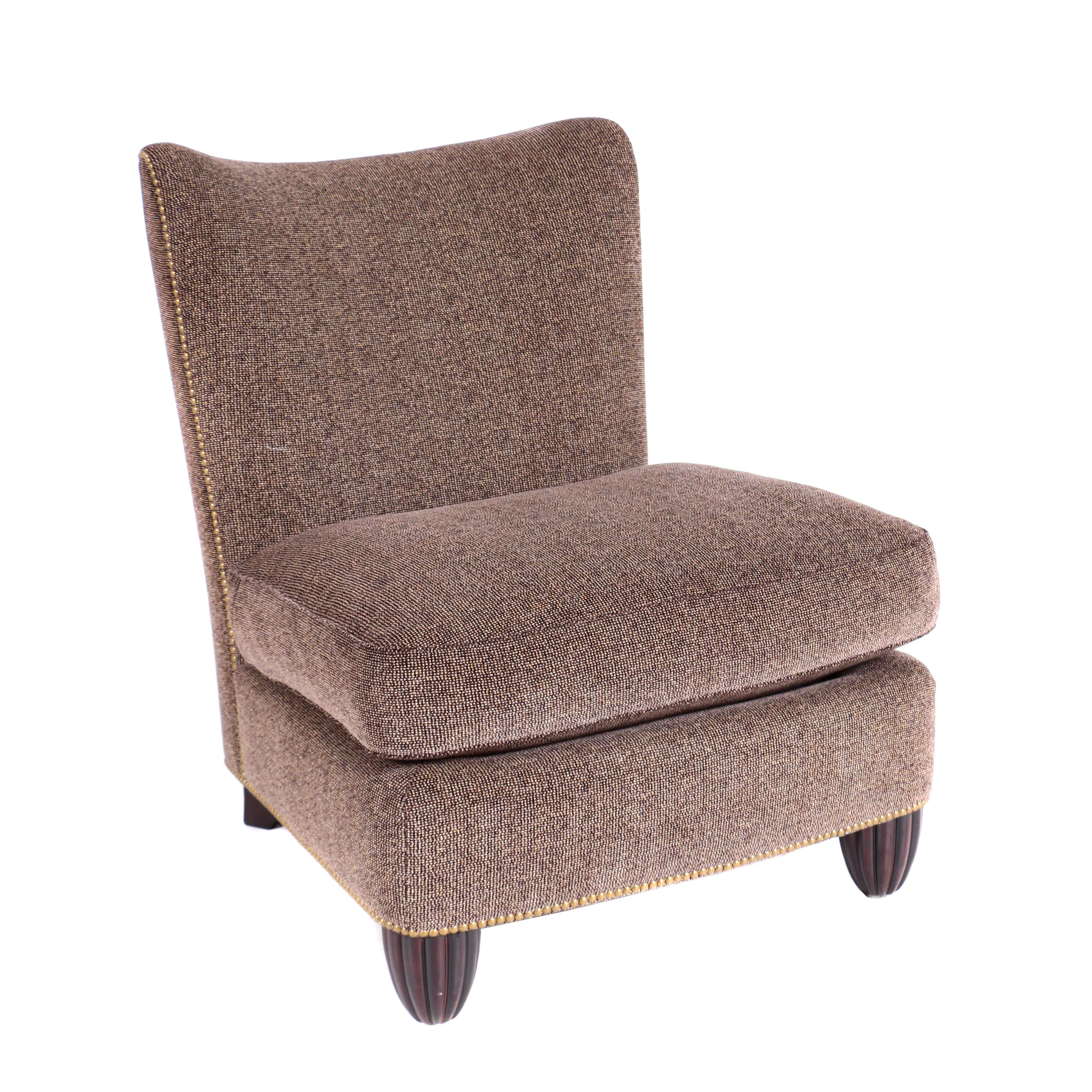 brown slipper chair tufted accent chairs custom upholstered ebth
