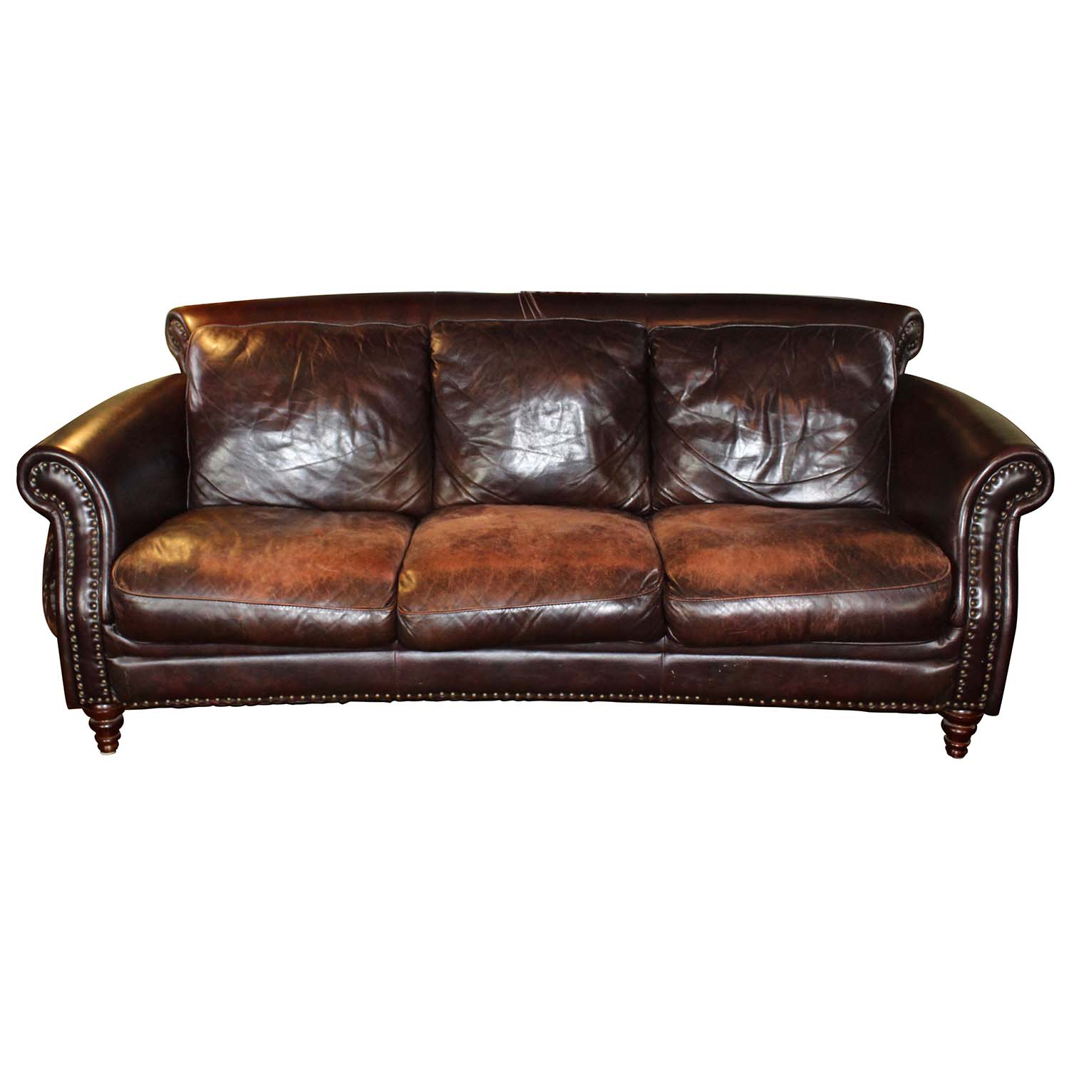 brown leather studded sofa average size of a bed cordovan by decoro usa ebth