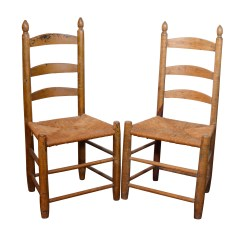 Antique Ladder Back Chairs With Rush Seats Unfinished Oak Dining Seat Ebth