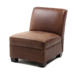 Brown Slipper Chair Reclaimed Wood Leather Ebth