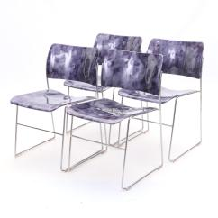 David Rowland Metal Chair Upholstered Living Room Amethyst 40 4 Stacking Chairs Ebth