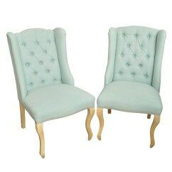 Z Gallerie Chairs White Outdoor Chair Queen Anne Style Button Tufted Side From Ebth