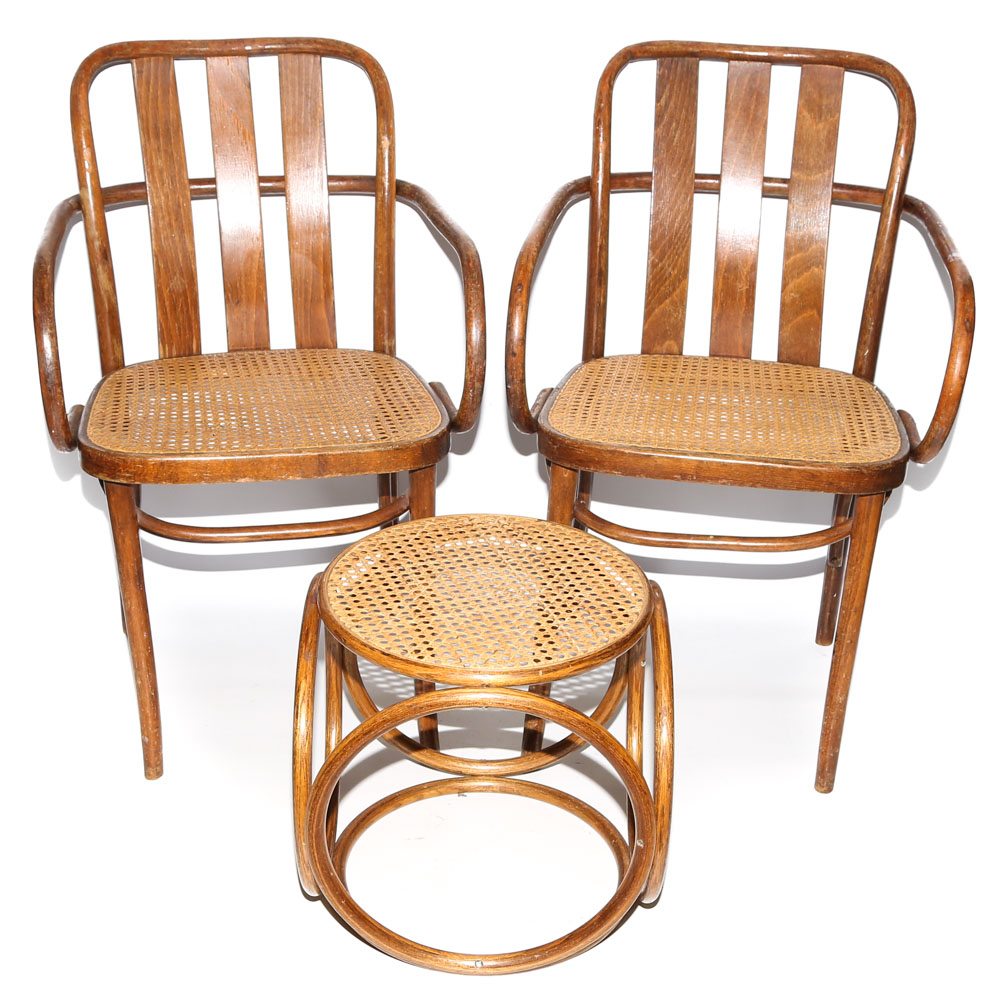 vintage bentwood chairs santa chair covers ireland pair of with ottoman by radomsko ebth
