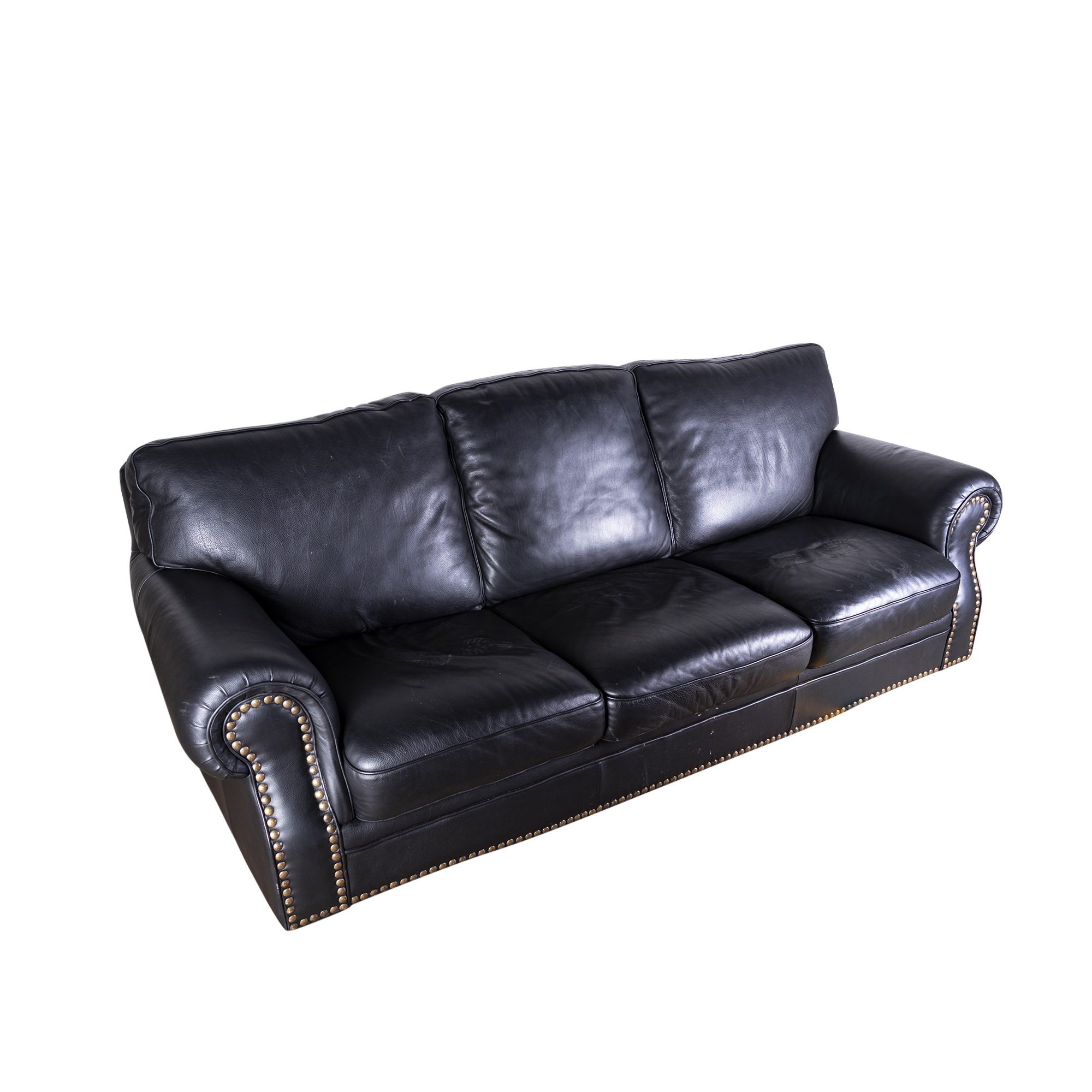 black leather sofa with nailheads navy blue sectional canada contemporary ebth