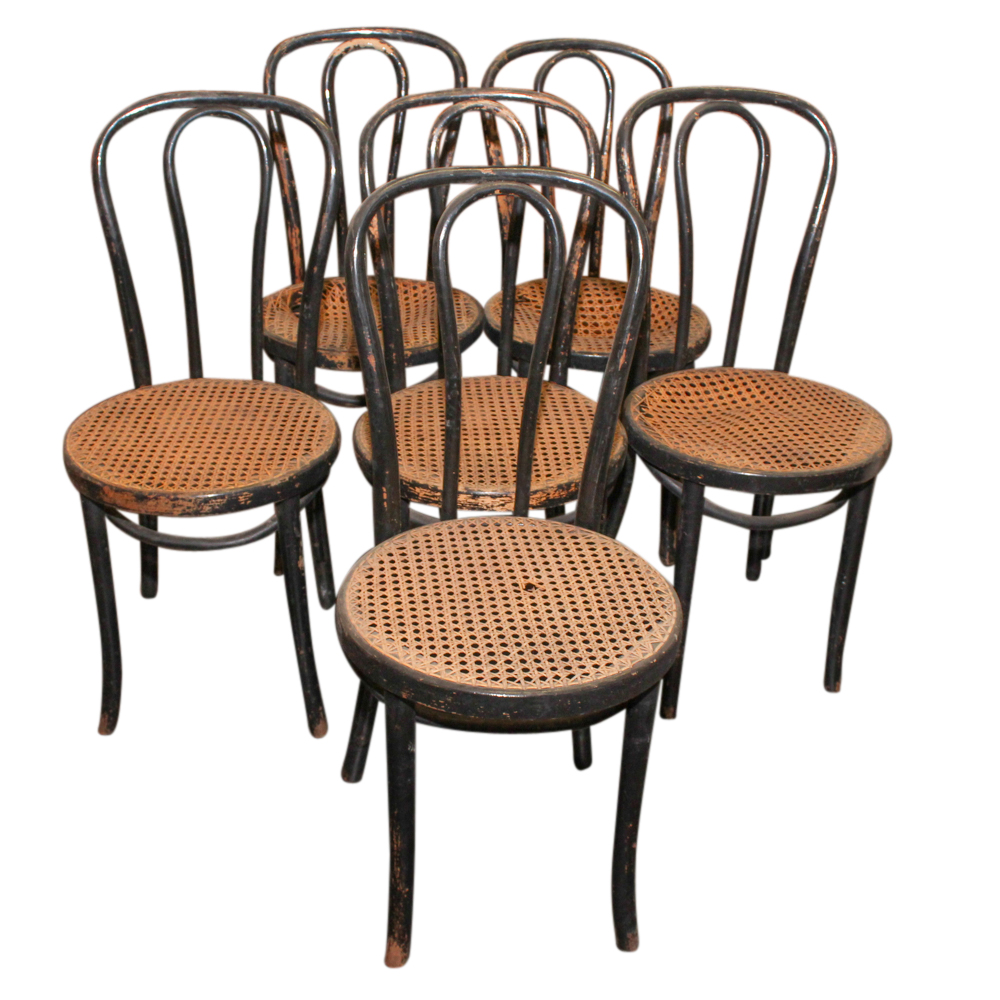 bentwood cane seat chairs adjustable piano chair six with parlor late 19th early 20th century ebth