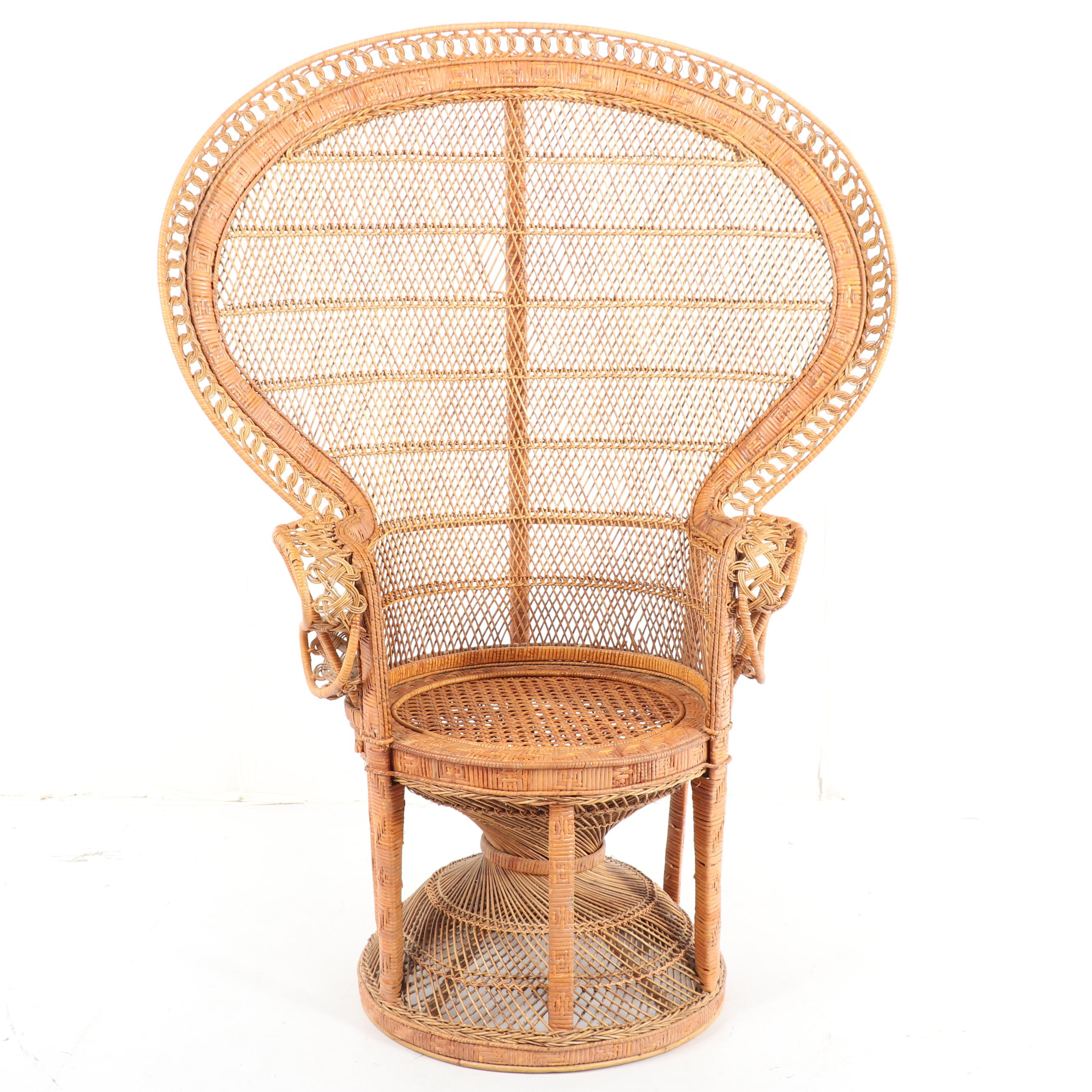 rattan peacock chair parson cover pattern late 20th century ebth