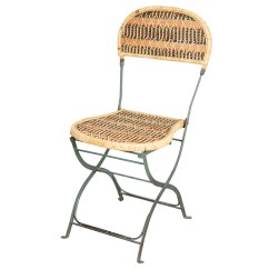 French Rattan Bistro Chairs Mid Century Folding Chair Iron And Woven By Jacques Grange Ebth