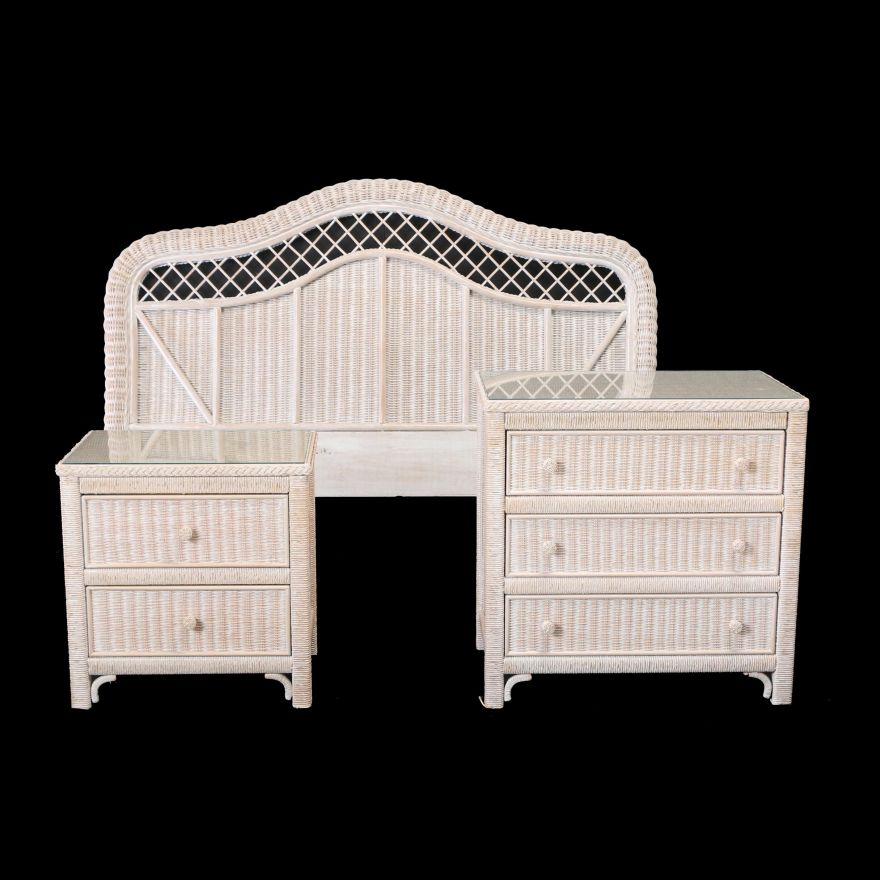 Contemporary Three Piece Painted Wicker Bedroom Set by ...
