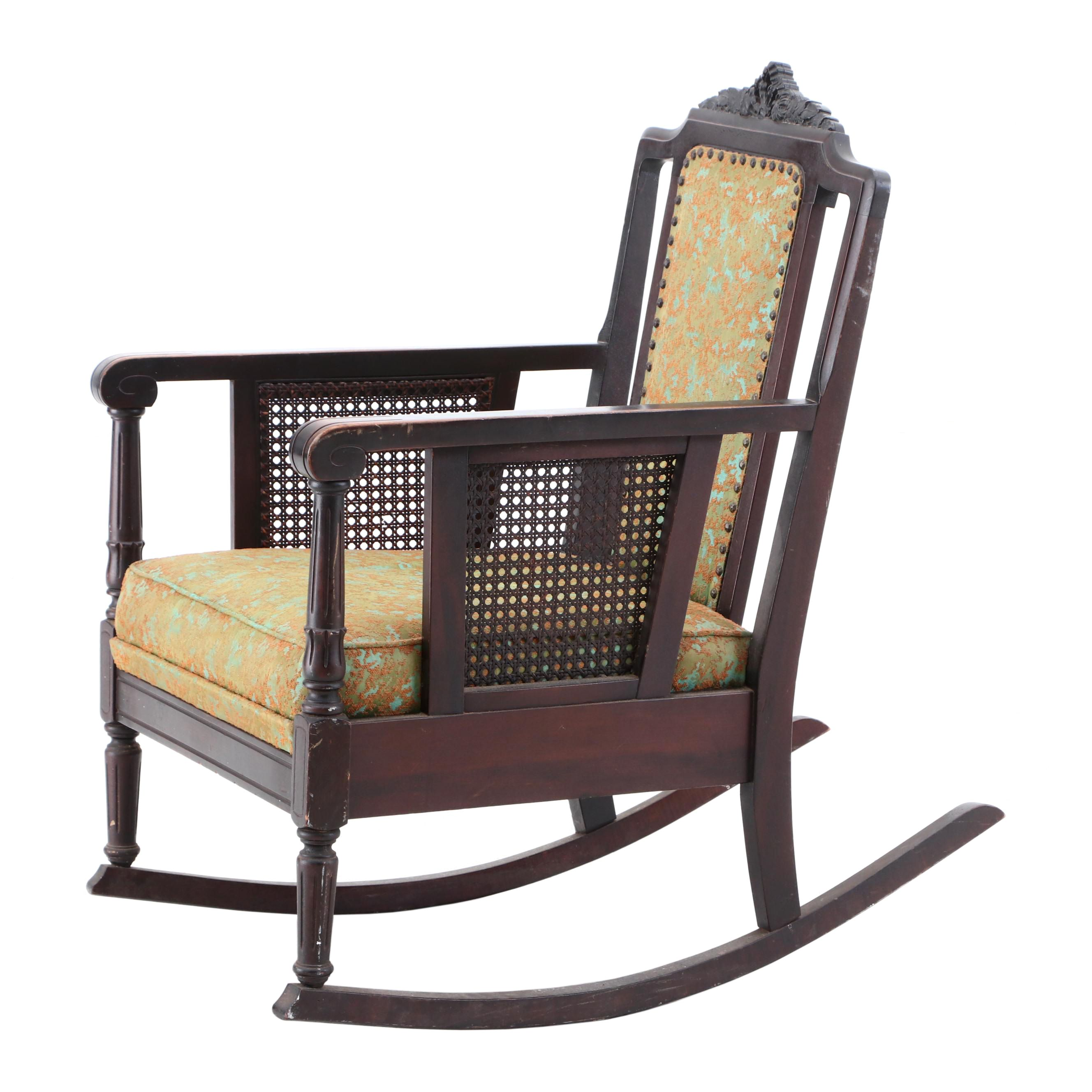 types of rocking chairs round lounge chair jacobean style walnut frame upholstered by karpen early 20th c ebth
