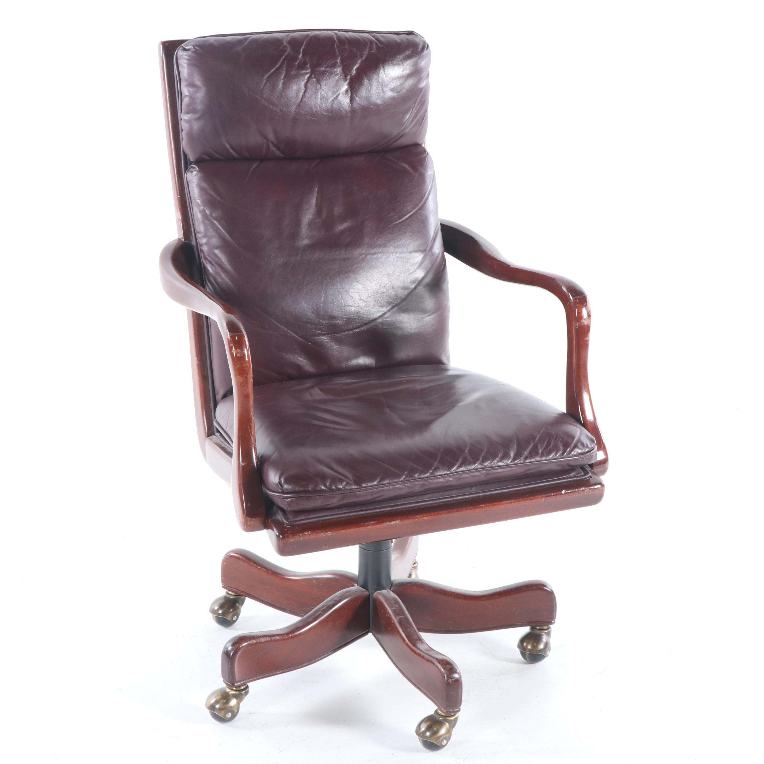 wood and leather office chair increase dining height on casters late 20th century ebth