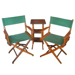 Bamboo Directors Chairs Bean Bag Pair Of Vintage Director S With Side Table Ebth
