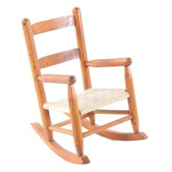 Woven Rocking Chair Used Pedicure Oak Child S With Seat Late 20th Century Ebth