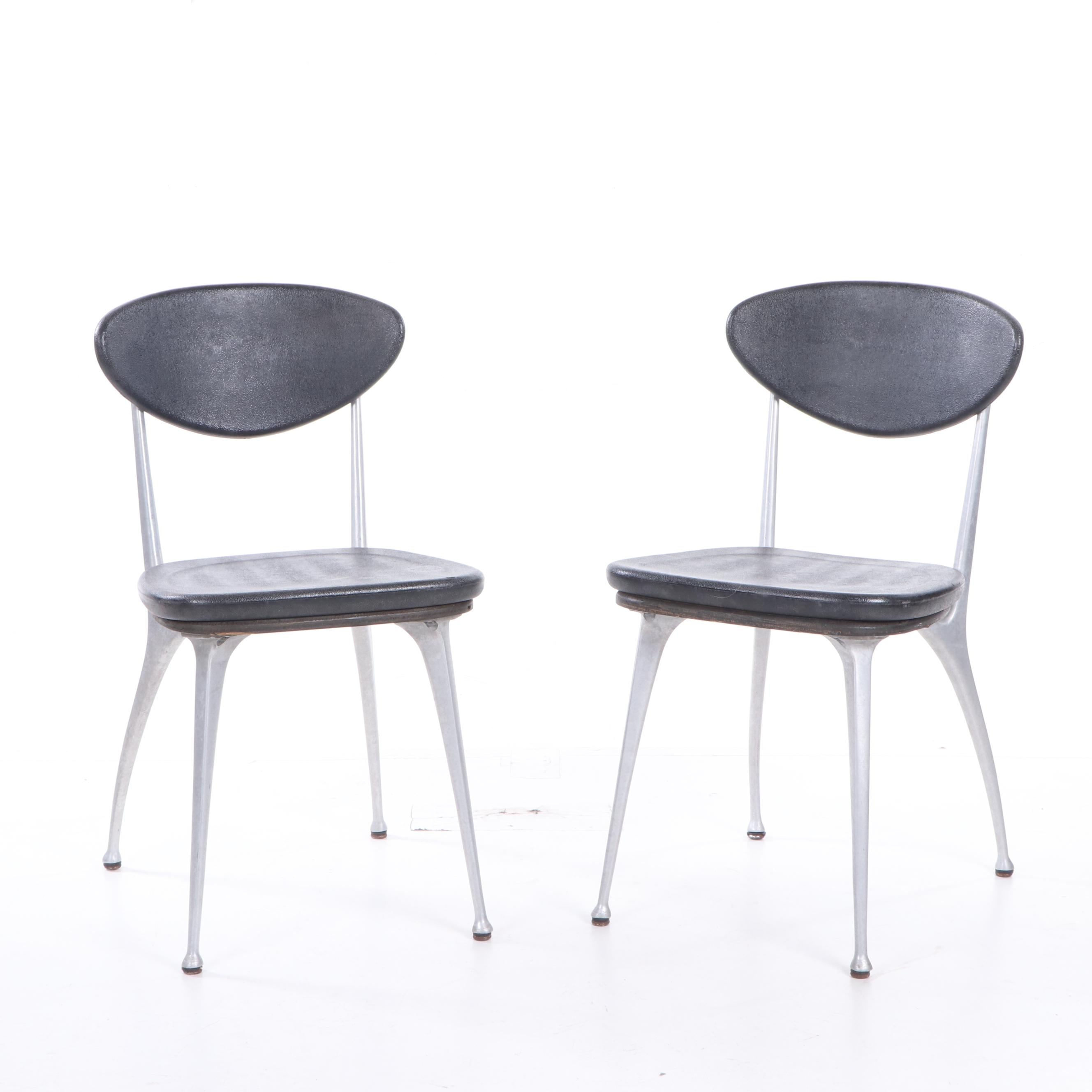 mid century modern plastic chairs leather office chair pair of style steel and molded side ebth