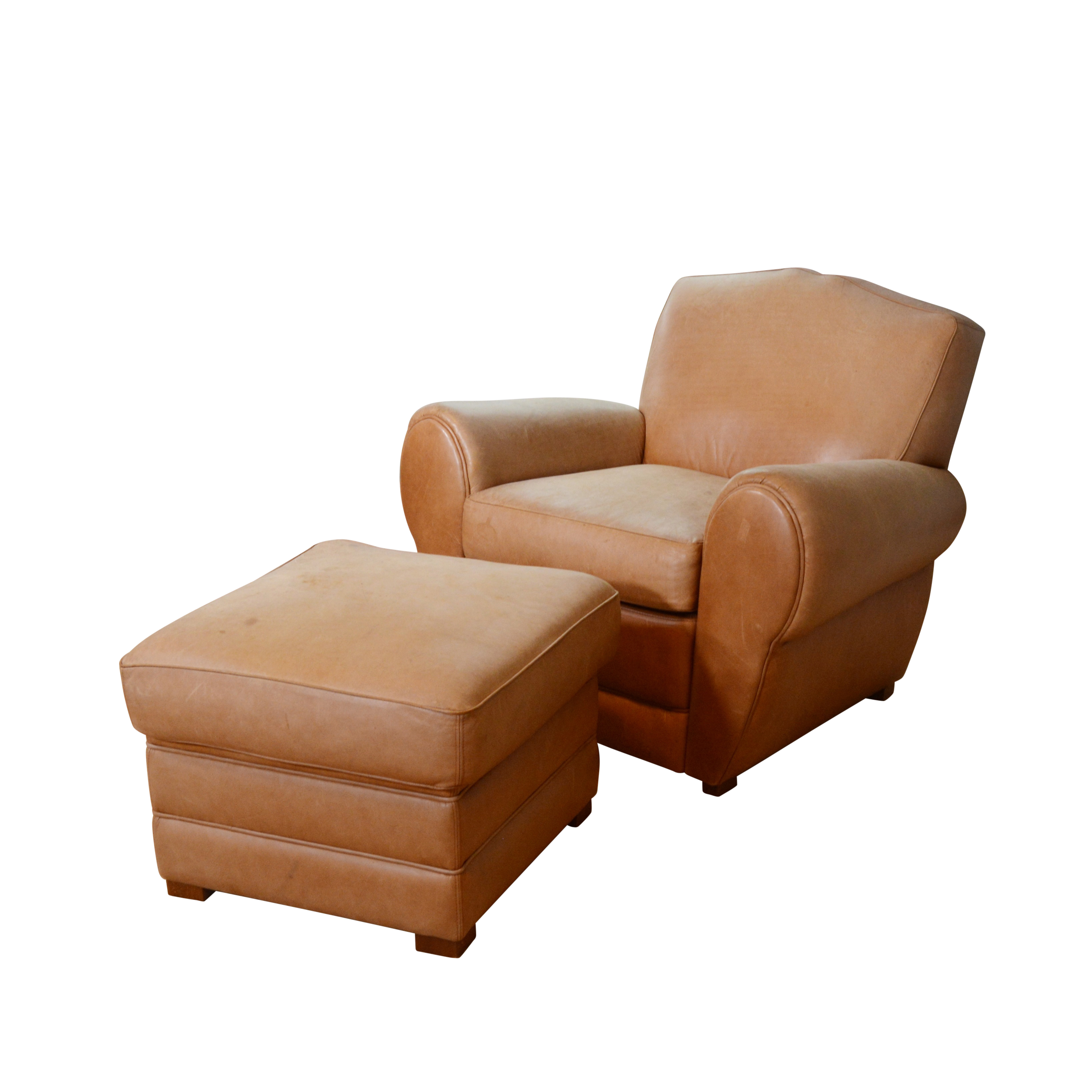 lounge chair leather sam moore grasshopper and ottoman late 20th century ebth