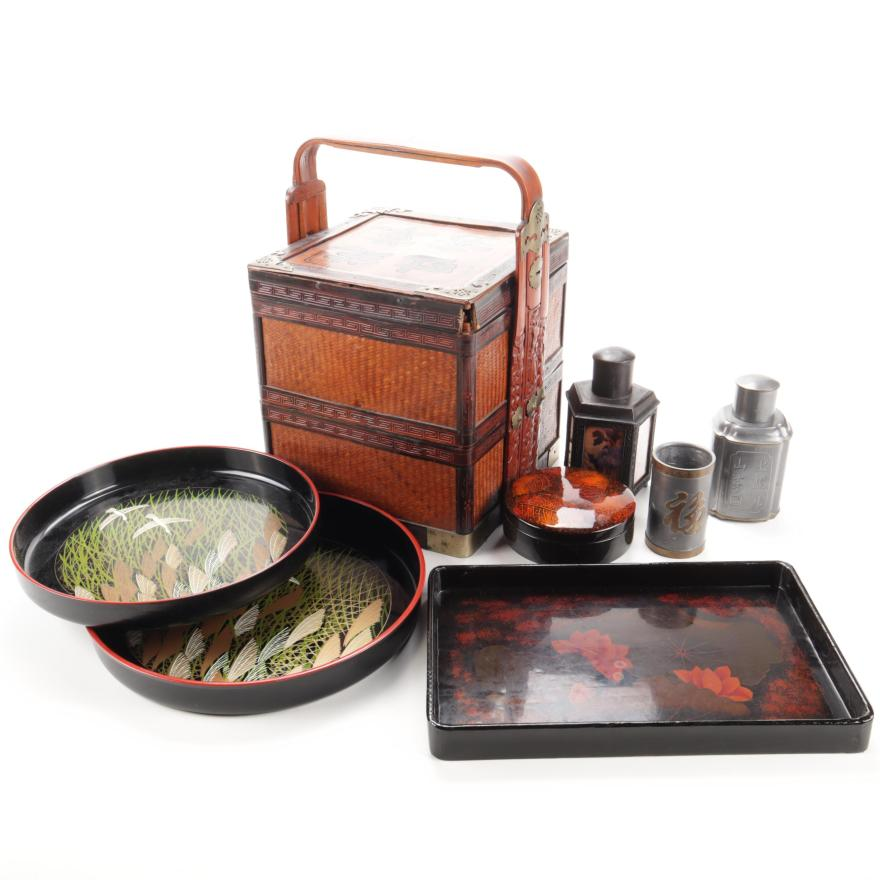 japanese lacquer trays with