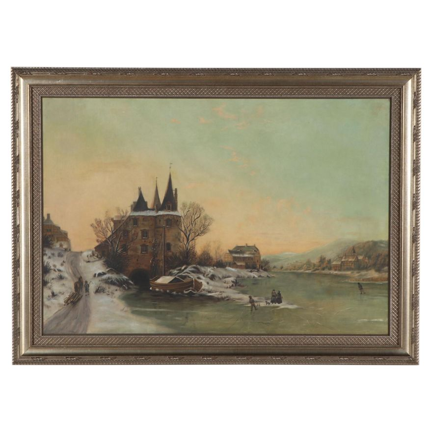 We're talking up to 60 percent off, people! Landscape Oil Painting of European Village, Mid-Late 20th ...