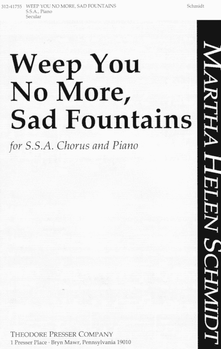 Weep You No More, Sad Fountains Sheet Music By Martha