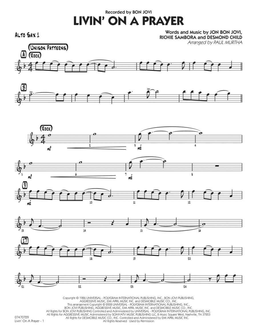 Download Livin' On A Prayer - Alto Sax 1 Sheet Music By Bon Jovi - Sheet Music Plus