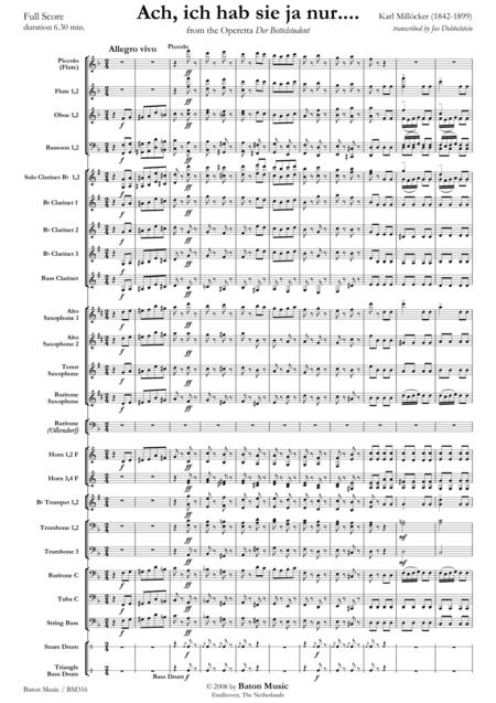 Ach, Ich Hab Sie Ja Nur... Sheet Music By Karl Millocker
