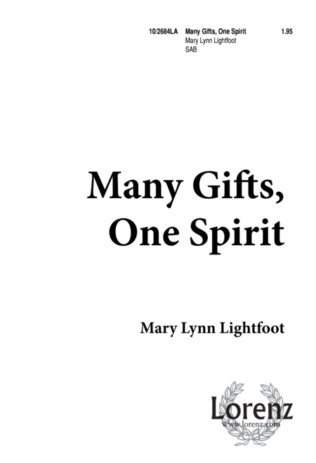 Download Many Gifts, One Spirit Sheet Music By Mary Lynn