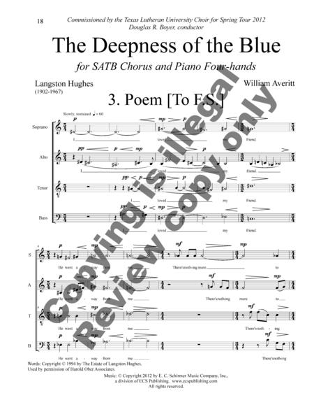 The Deepness Of The Blue Sheet Music By William Averitt