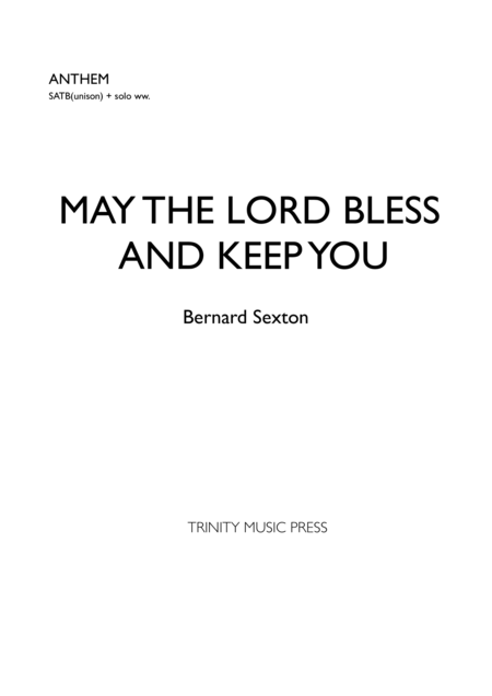 Download May The Lord Bless And Keep You Sheet Music By
