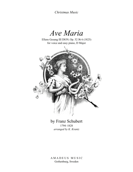 Download Ave Maria (Schubert) For Voice And Easy Piano (D