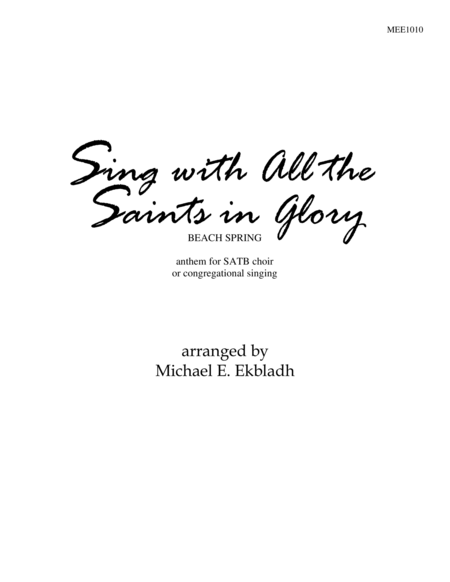 Download Sing With All The Saints In Glory Sheet Music By