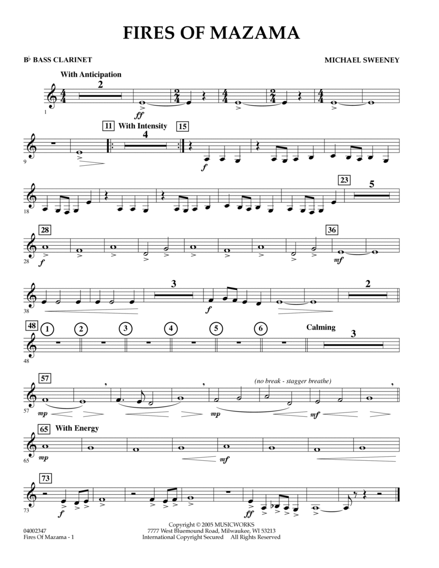 Download Fires Of Mazama  Bb Bass Clarinet Sheet Music By