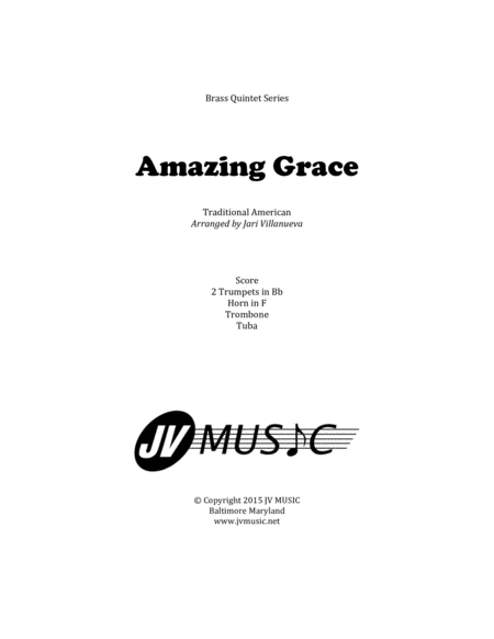 Download Amazing Grace For Brass Quintet Sheet Music By
