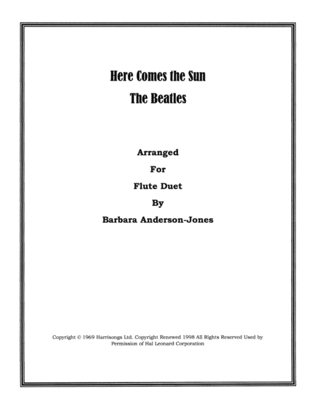 Download Here Comes The Sun (Flute Duet) Sheet Music By